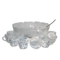Punch Bowl Glass & 12 Cups