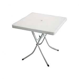 0.75m Square White Outdoor Table