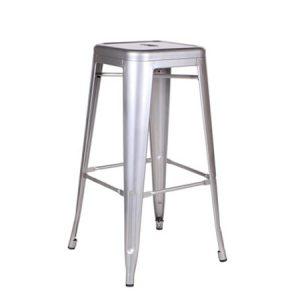 Tall Tolix Stool - Silver
