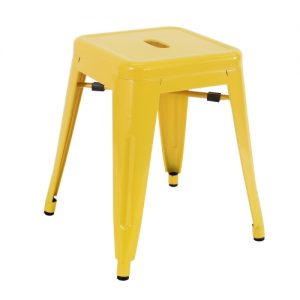 Low Tolix Stool -  Yellow
