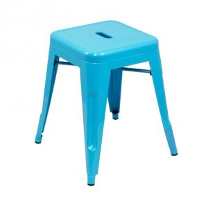 Low Tolix Stool -  Sky Blue