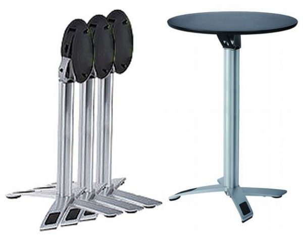 Folding Bar Table - round in black