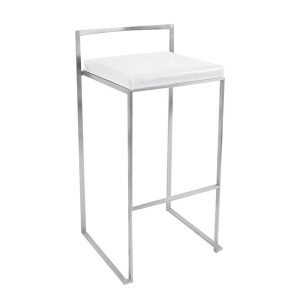 Padded Bar Stool - White